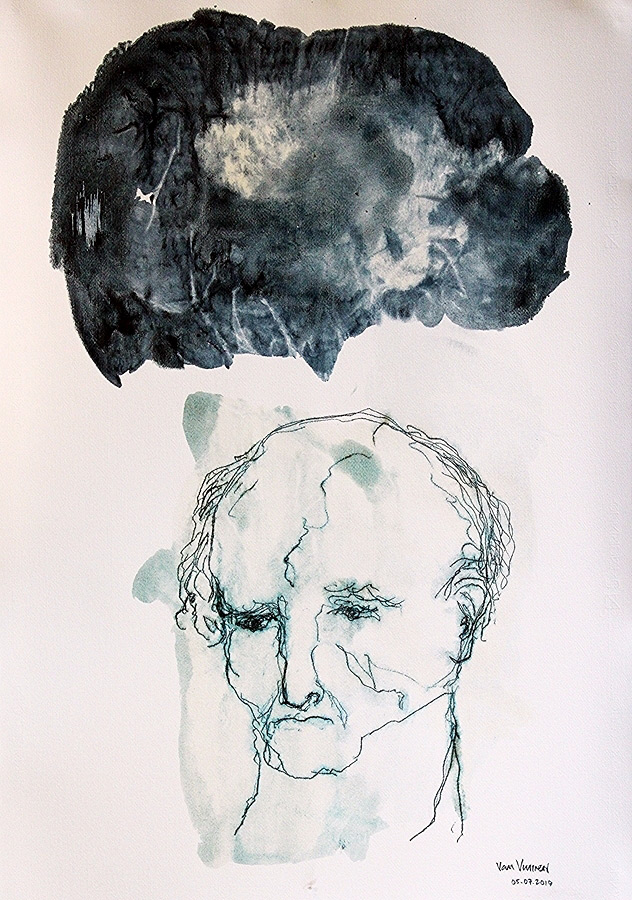 head 2 (oil on paper, 100×70 cm)