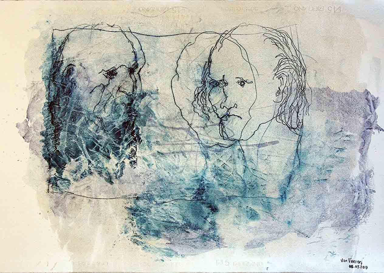 son and father (oil on paper, 70×100 cm)